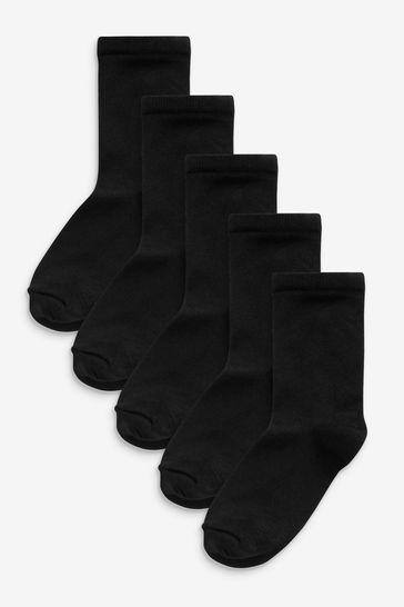 Black 5 Pack Soft Handfeel Ankle Socks