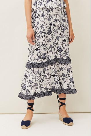 Phase Eight Blue Ferne Floral Printed Co-ord Skirt