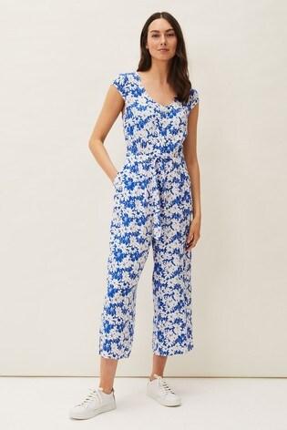 Phase Eight Blue Nerissa Floral Wide Leg Jumpsuit