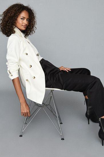 Reiss White Austen Wool Blend Double Breasted Blazer