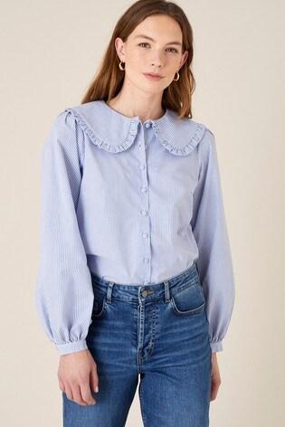 Monsoon Frill Collar Stripe Poplin Shirt