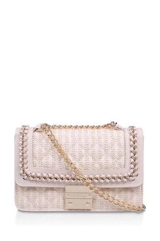 Carvela Cream Bailey Quilted Chain Shoulder Bag