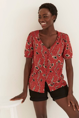 FatFace Red Sandra Pressed Floral Longline Top