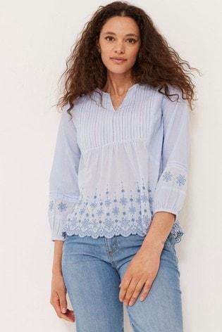 FatFace Jessica Embroidered Stripe Blouse