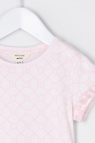 River Island Pink All Over Print Ruffle T-Shirt