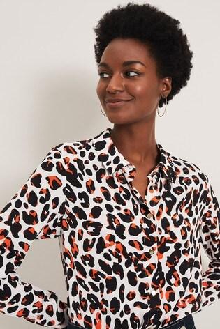 Damsel In A Dress Orange Urban Leopard Blouse
