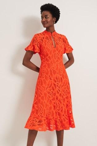 Damsel In A Dress Orange Lulu Floral Lace Dress