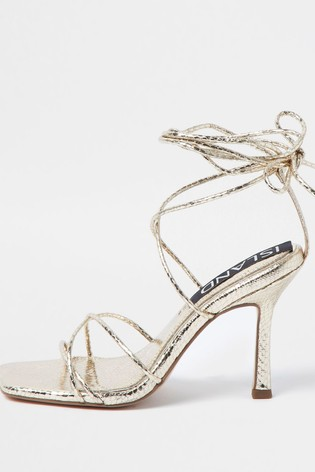 River Island Gold Square Toe Tie Up Sandals