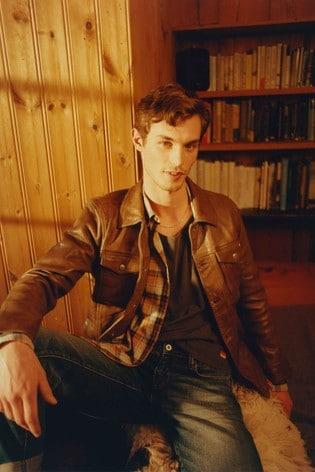 Superdry Leather Workwear Trucker Jacket