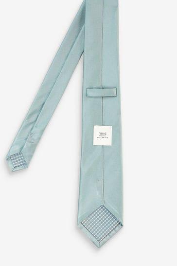 Sage Green Regular Silk Tie And Pocket Square Set