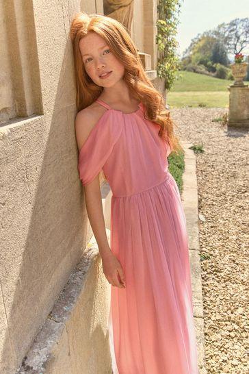 Pink Chiffon Bridesmaid Dress (6-16yrs)