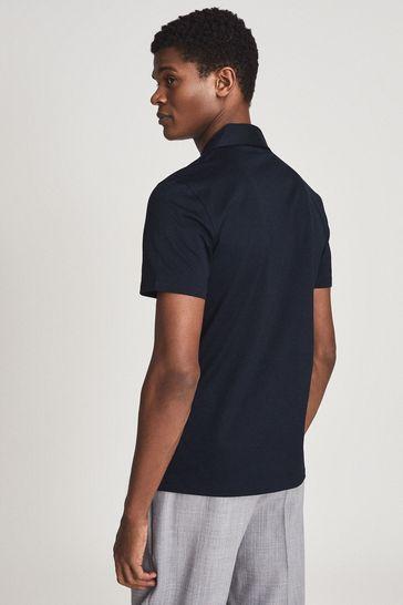 REISS Blue Caspa Mercerised Cotton Jersey Shirt