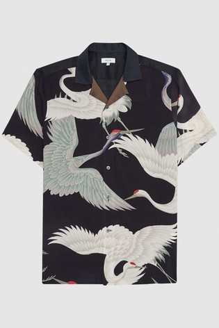 REISS Black Gigi Printed Cuban Collar Shirt