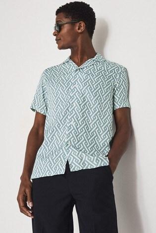 REISS Blue Uptown Printed Cuban Collar Shirt