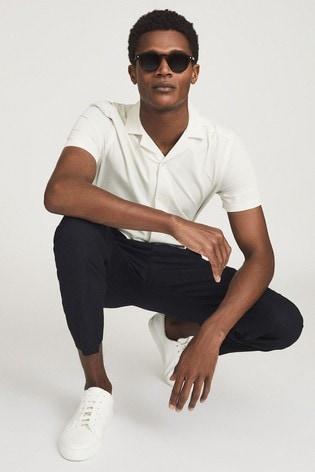 REISS White Lang Cuban Collar Shirt