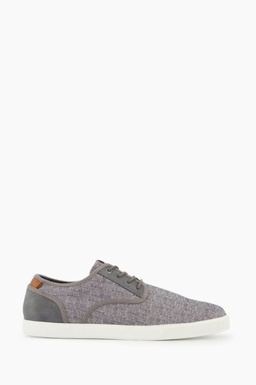 Dune London Grey Trey Lace-Up Fabric Trainers