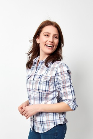 Spirit White Button Through Check Shirt