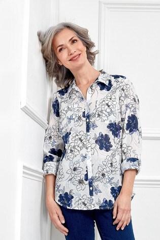 Spirit Blue Floral Roll Sleeve Shirt