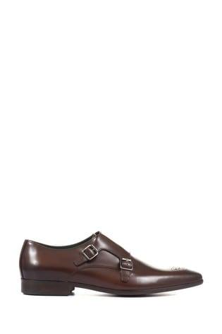 Jones Bootmaker Brown Morden Men's Leather Monk Shoes