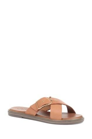 Jones Bootmaker Tan Mali Leather Ladies Slider Sandals