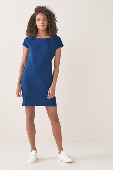 Blue Relaxed Capped Sleeve Tunic Dress