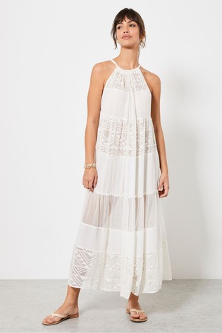 Mint Velvet White Tiered Beach Midi Dress