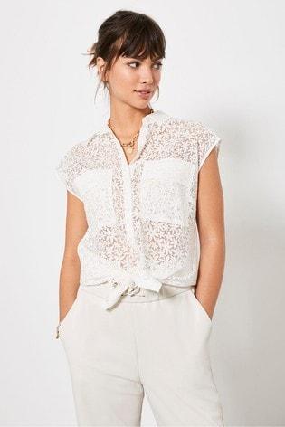 Mint Velvet White White Burnout Sleeveless Shirt
