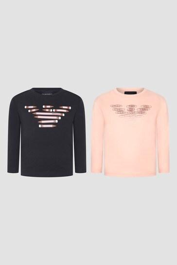 Girls Navy T-Shirts 2 Pack