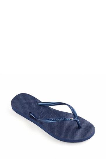 Havaianas Blue Slim Crystal SW II Flip Flops