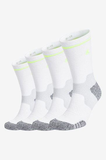 White Long 4 Pack Next Active Cushioned Socks