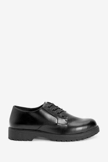 Black Cleat Lace-Up Shoes
