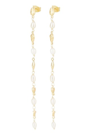 Oliver Bonas Amalfi Pearl & Shape Link Gold Plated Drop Earrings