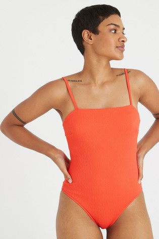 Oliver Bonas Red Chevron Texture Square Front Swimsuit