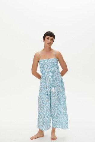 Oliver Bonas Blue Geometric Print Jumpsuit