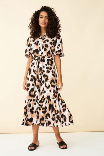 F&F Brown Animal Midi Shirt Dress