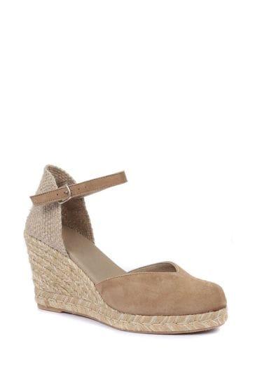 Jones Bootmaker Ladies Natural Arabella Leather Wedge Sandals