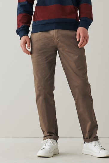 Brown Straight Fit Stretch Chino Trousers