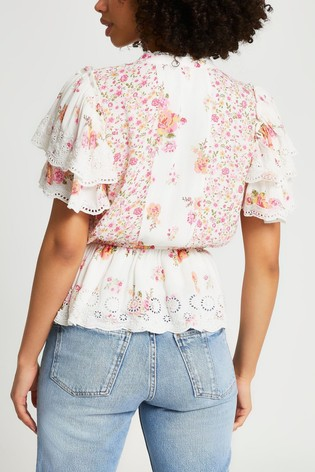 River Island light Pink Ultimate Broderie Top