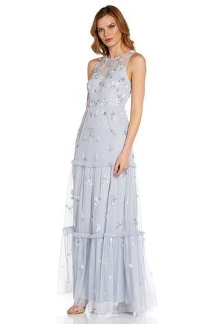 Adrianna Papell Blue Beaded Tiered Gown