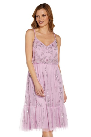 Adrianna Papell Pink Beaded Flounce Dress