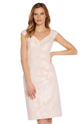 Adrianna Papell Pink Sweetheart Jacquard Sheath Dress