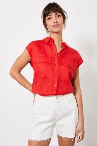 Mint Velvet Red Linen Sleeveless Shirt