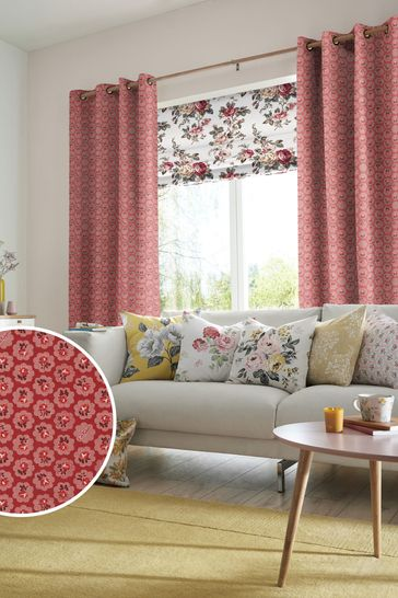Cath Kidston Red Freston Rose Made To Measure Curtains
