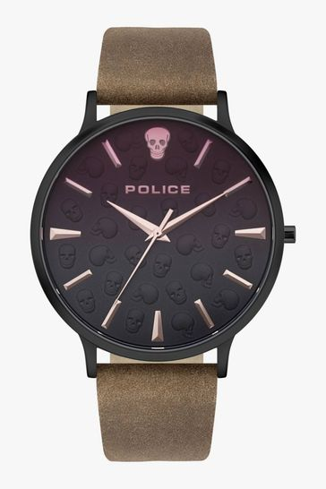 Police Tasman Brown Leather Strap Watch