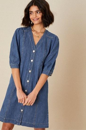 Monsoon Blue Puff Sleeve Denim Dress