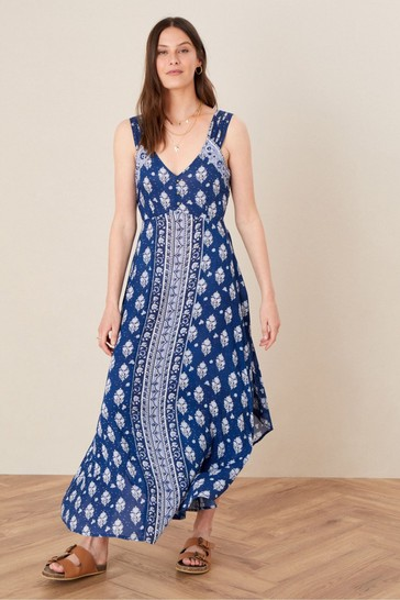 Monsoon Blue Evy Patch Print Dress