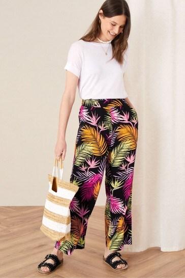 Monsoon Black Palm Print Wide Leg Trousers