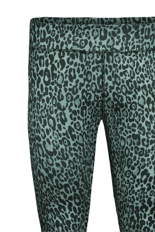 Live Unlimited Curve Cropped Green Animal Athleisure Leggings