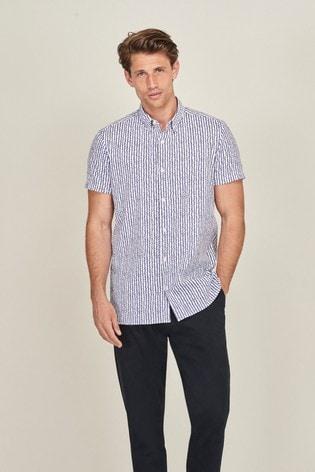Blue Stripe Regular Fit Regular Fit Textured Short Sleeve Shirt