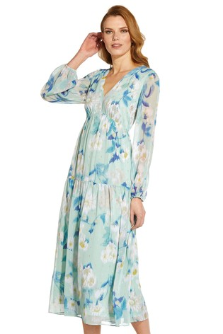 Adrianna Papell Green Plus Floral Chiffon Tiered Dress